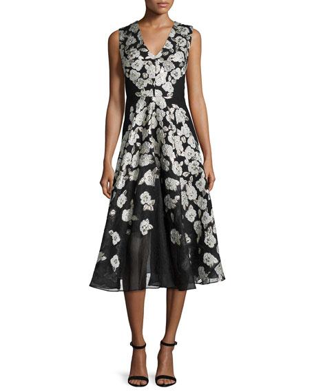 Lela Rose Sleeveless Stamped-Floral Dress, Black