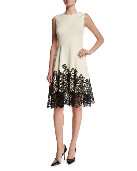 Lela Rose Fit-&-Flare Lace-Hem Dress, Ivory/Black