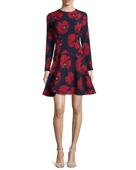 Lela Rose Long-Sleeve Fit-&-Flare Dress, Navy/Poppy