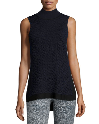 Mock-Neck Textured Tank, Navy/Black