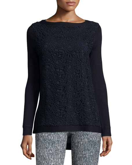 Lela Rose Long-Sleeve Lace-Front Top, Navy