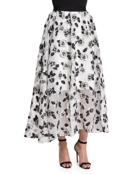 Lela Rose Stamped-Floral Full Midi Skirt, Ivory/Black