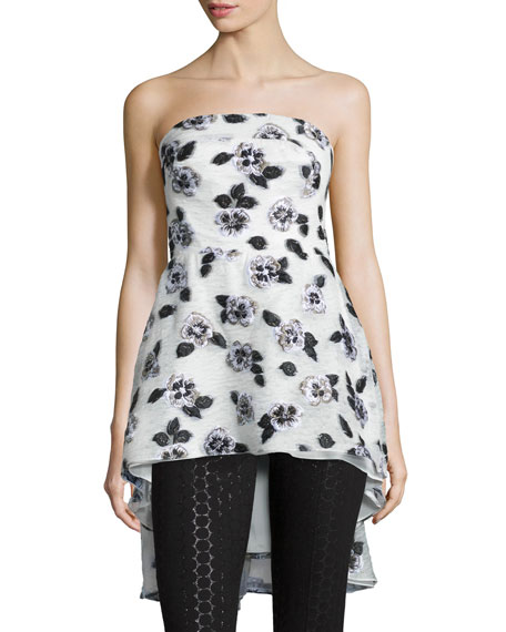 Lela Rose Strapless Floral-Embroidered Top & Metallic Polka-Dot