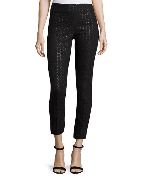 Lela RoseCatherine Metallic Polka-Dot Skinny Ankle Pants, Black