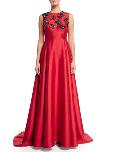 Embellished Sleeveless Gown W/Train, Poppy