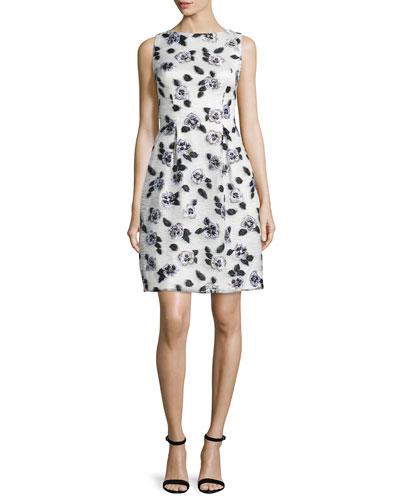 Lela Rose Stamped-Floral Sheath Dress, Ivory/Black