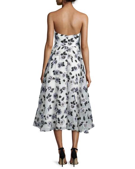Strapless Stamped-Floral Dress, Ivory/Black