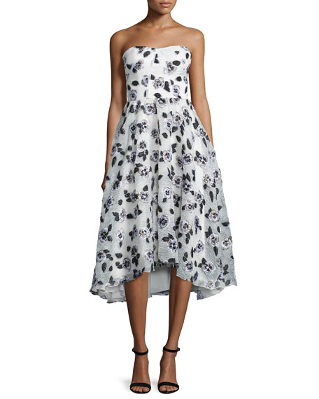 Lela Rose Strapless Stamped-Floral Dress, Ivory/Black