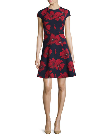 Lela Rose Blair Cap-Sleeve Floral-Print Dress, Navy/Poppy