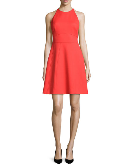 Lela Rose Modified-Halter Fit-&-Flare Dress, Poppy