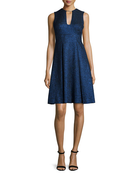 Lela Rose Sleeveless Metallic Fit-&-Flare Dress, Blue