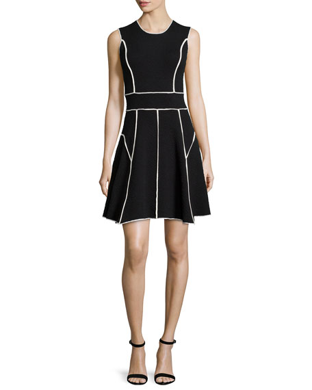 Lela Rose Contrast-Seam Fit-and-Flare Dress, Black/Ivory