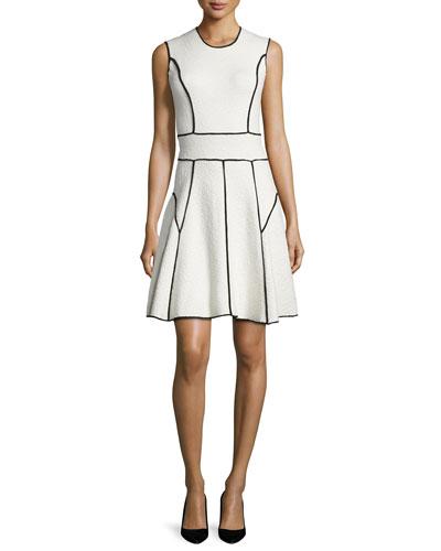 Sleeveless Contrast-Seam Dress, Ivory/Black