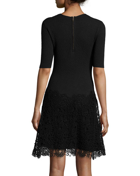 Half-Sleeve Combo Sheath Dress