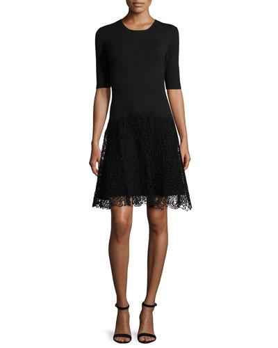 Half-Sleeve Combo Sheath Dress, Black
