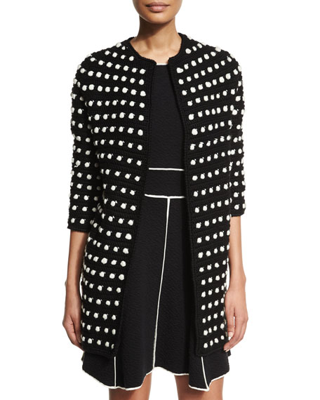 Lela Rose 3/4-Sleeve Two-Tone Cocoon Cardigan, Black/Ivory