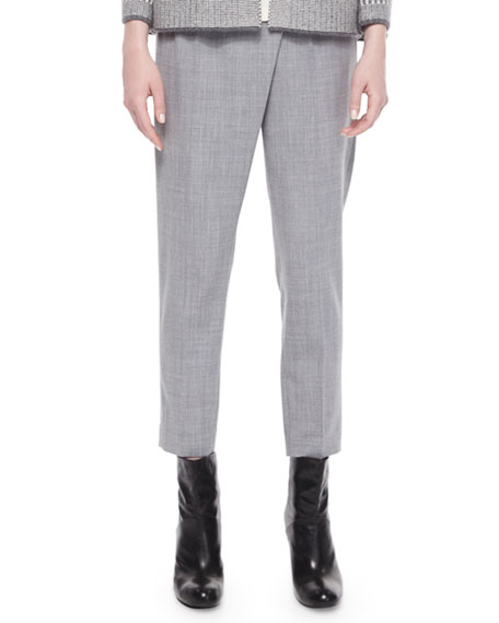 St. John Collection Slim-Leg Cropped Pants, Light Gray Multi