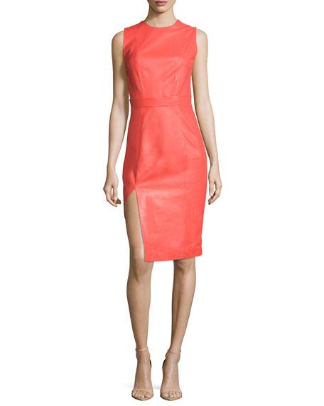 Mugler Sleeveless Jewel-Neck Sheath Dress, Coral