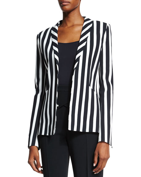 Mugler Classic Striped Blazer, Black/White