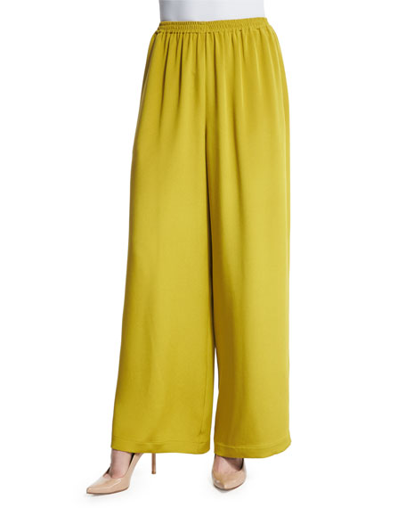 Eskandar Flare-Leg Silk Crepe Trousers, Dark Olive Oil
