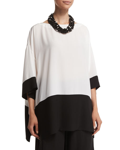 eskandar 3/4-Sleeve Colorblock Long Tunic, Black/White