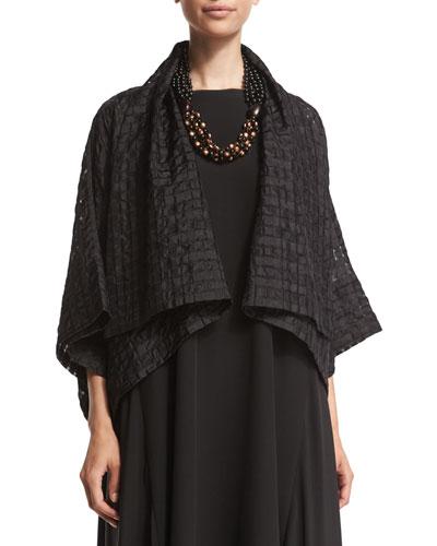 Short-Sleeve Open-Front Cropped Jacket, Black