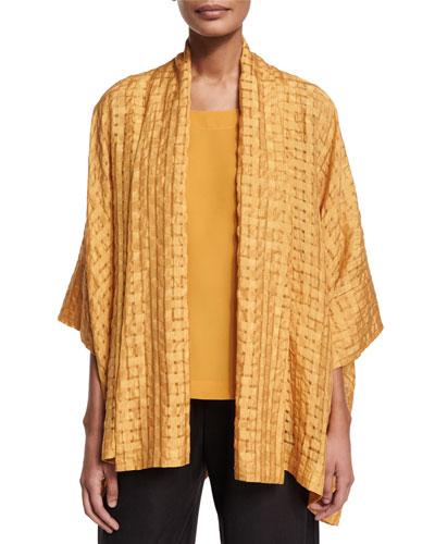 Short-Sleeve Open-Front Jacket, Turmeric