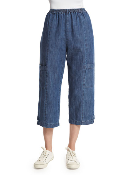 eskandar Wide-Leg Cropped Trousers, Denim