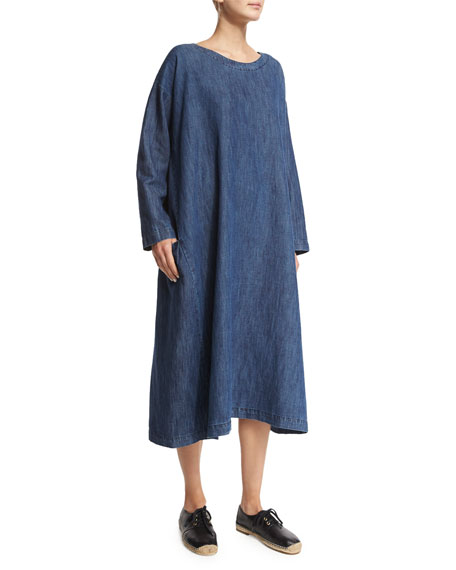 eskandar Long-Sleeve Round-Neck Dress, Denim