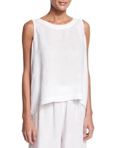 Sleeveless Round-Neck Linen Shell, White