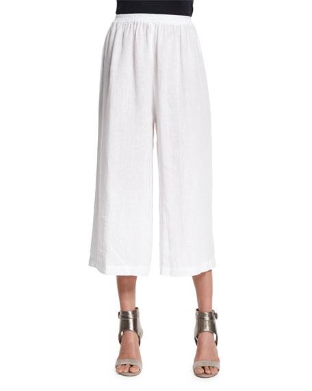Eskandar Flare-Leg Cropped Linen Trousers, White