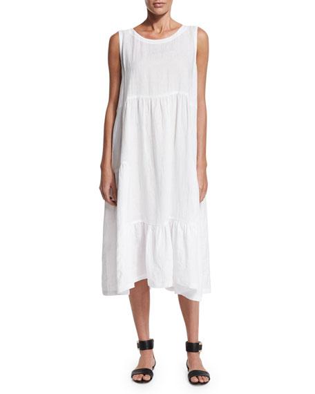 eskandar Sleeveless Tiered Linen A-Line Dress, White