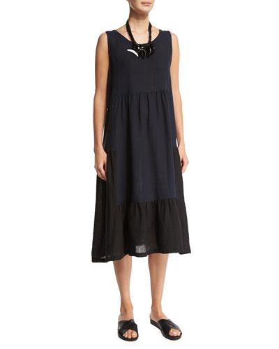 Sleeveless Colorblock Tiered Linen Dress, Black/Navy