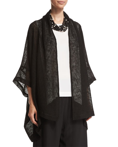 eskandar Open-Front 3/4-Sleeve Jacket, Black