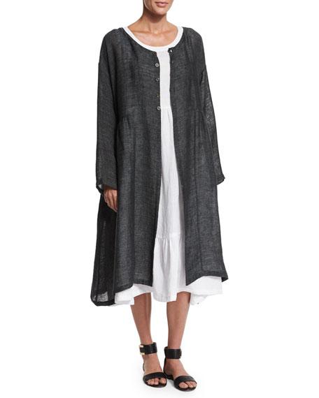 eskandar Long-Sleeve Pleated Long Coat, Dark Elephant