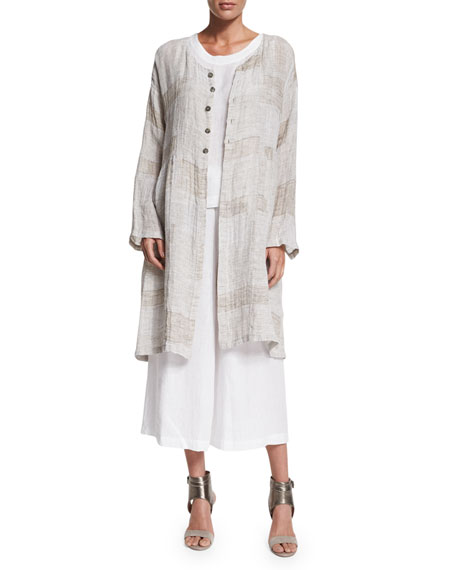 Eskandar Round-Neck Long Coat with Pleated Panels, Hessian