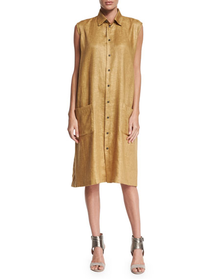 eskandar Sleeveless Button-Front Linen Shirtdress, Gold