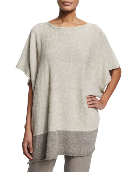 Short-Sleeve Two-Tone Caftan, Neutrals