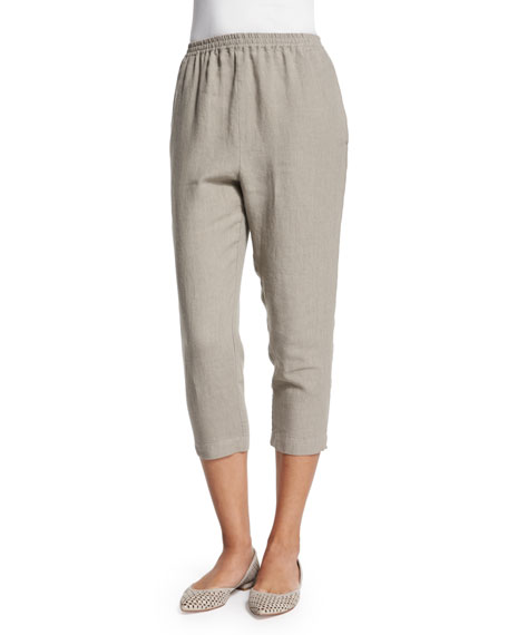 eskandar Cropped Slim-Leg Linen Trousers, Dolphin