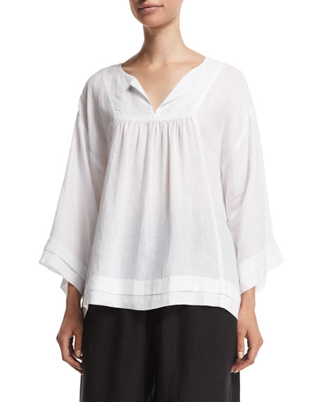 Eskandar Long-Sleeve Pleated-Edge Artisan Top, White