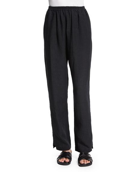 eskandar Straight-Leg Regular Linen Trousers, Black