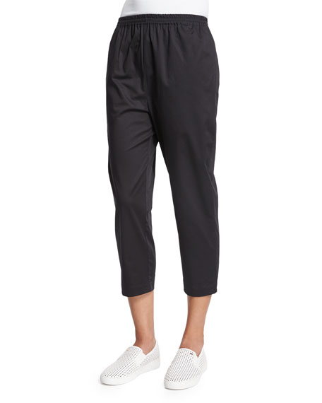 eskandar Cropped Slim-Leg Trousers, Black