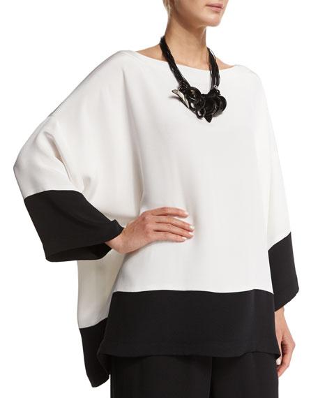 eskandar 3/4-Sleeve Bateau-Neck Colorblock Top, Black/White