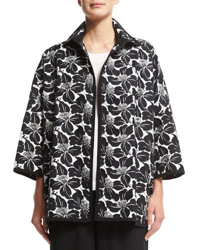 Floral-Print Open-Front Jacket, Black