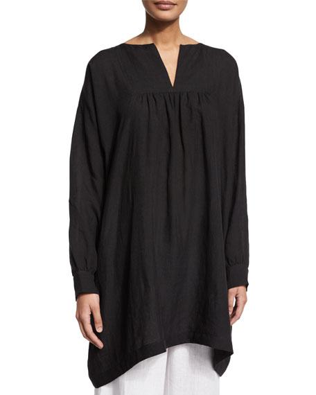 eskandar Long-Sleeve Peasant Smock Top, Black