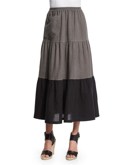 eskandar Colorblock Tiered Linen Petticoat Skirt, Black/Elephant