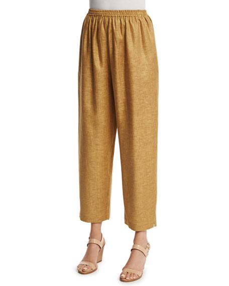 eskandar Wide-Leg Cropped Linen Trousers, Gold