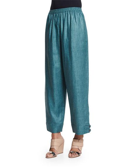 eskandar Slimmer Japanese Button-Cuff Linen Ankle Pants, Teal