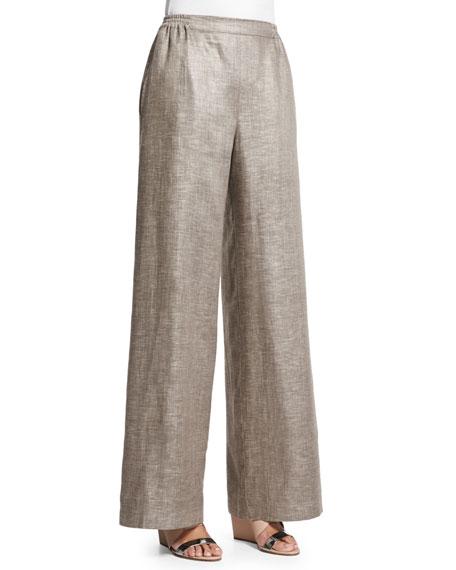 eskandar Flat-Front Wide-Leg Linen Trousers, Hessian