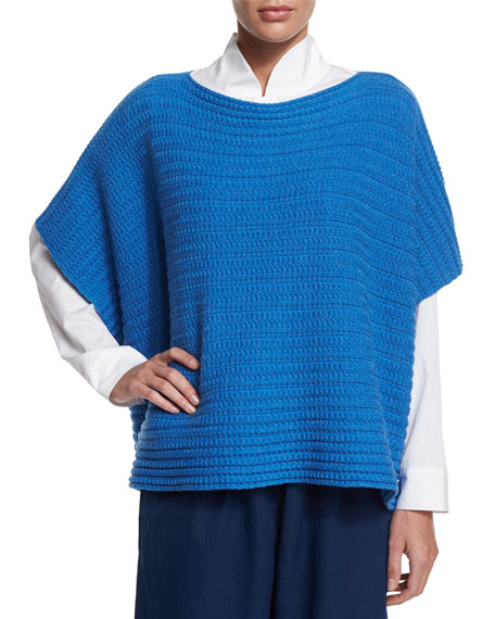 eskandar Short-Sleeve Ribbed Caftan Top, Electric Blue